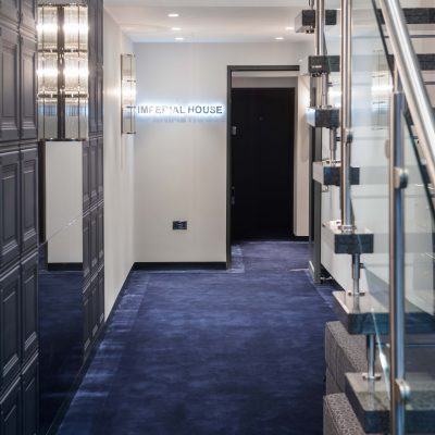Our custom carpet for Imperial House. Bespoke design carpet for commercial areas. Heavy wearing carpet for hospitality. Common parts London